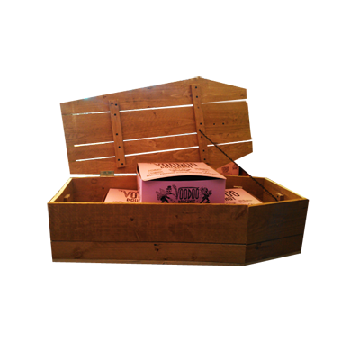 Wooden Coffin with Lid open with three pink Voodoo Doughnut boxes inside