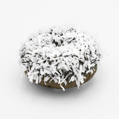 Chocolate cake doughnut with chocolate frosting with white coconut flakes.