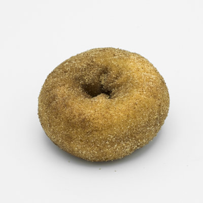 Plain cake doughnut covered with cinnamon sugar.