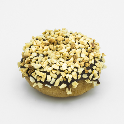 Plain cake doughnut, dipped in chocolate frosting and coated with chopped peanuts.