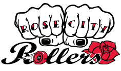Letters on fingers of fists Rose City Rollers Logo