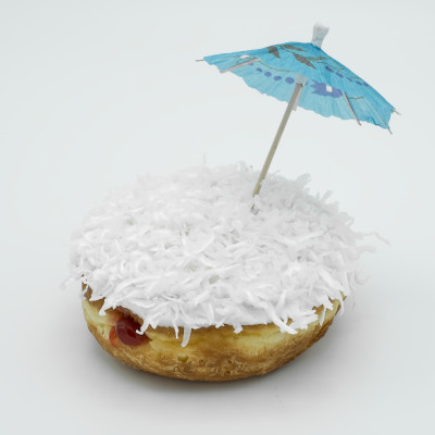 Filled with guava jelly with vanilla icing coconut and paper parasol