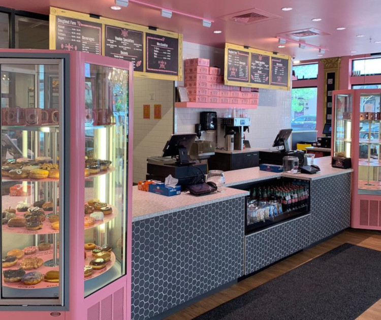 Interior counter and display with doughnuts